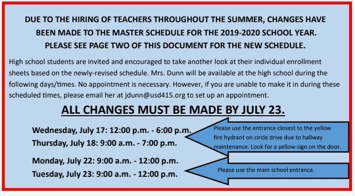 HHS Master Schedule Changes