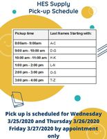 HES Supply Pick-Up Schedule
