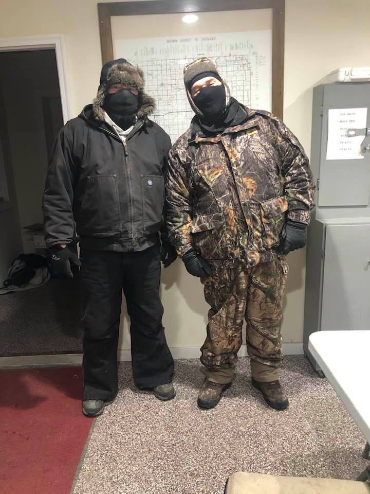 Bundled up bus drivers