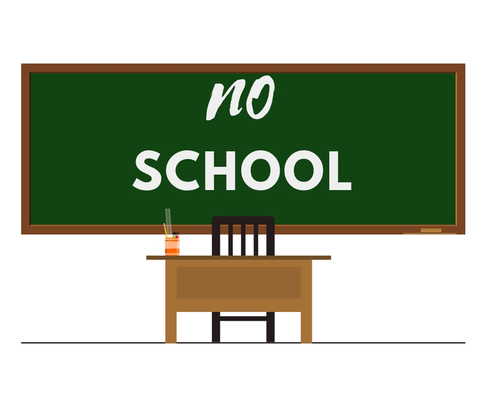 No School Blackboard and Desk