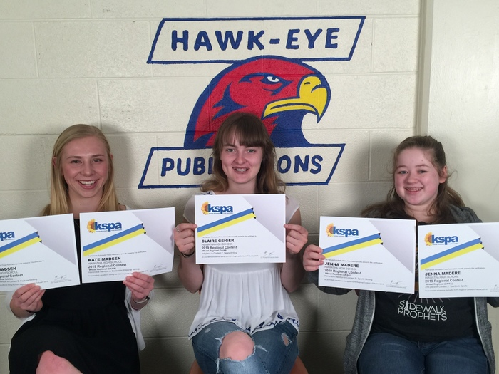 Freshman Jenna Madere placed second for Yearbook Sports writing and received honorable mention for Sports writing; Kate Madsen received honorable mention in both Feature and Editorial writing; and Claire Geiger placed first for News writing.